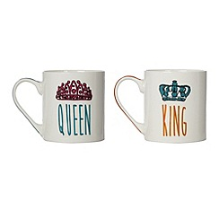 Ben de Lisi Home - Pack of 2 'King' and 'Queen' mugs