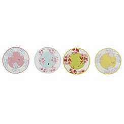 At home with Ashley Thomas - Set of four light blue 'Country garden' print dessert plates