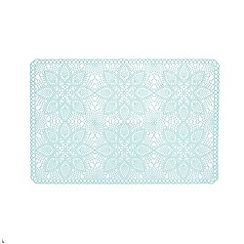 At home with Ashley Thomas - Pale blue vinyl lace placemat