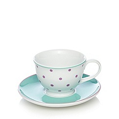 At home with Ashley Thomas - Purple floral spotted porcelain teacup, saucer and side plate set