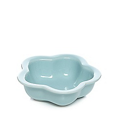 At home with Ashley Thomas - Stoneware turquoise flower nibble bowl