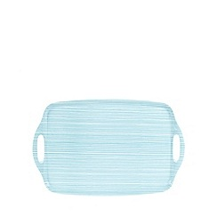 Home Collection Basics - Light blue striped plastic serving tray