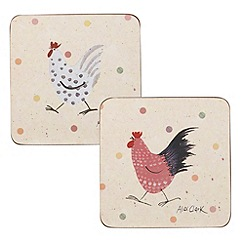 Queens - Set of four cork 'Rooster' coasters