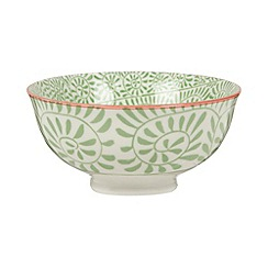 Creative Tops - Small fine china green 'Wanderer' spiral leaf print bowl