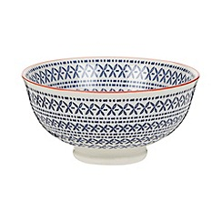 Creative Tops - Medium fine china blue 'Wanderer' leaf print bowl