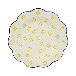 Creative Tops - Stoneware yellow 'Wanderer' scalloped tea plate