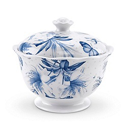 Portmeirion - White glazed 'Botanic Blue' covered sugar bowl