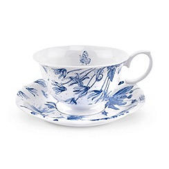 Portmeirion - White 'Botanic Blue' tea cup & saucer