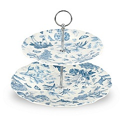 Portmeirion - White 'Botanic Blue' two tier cake stand