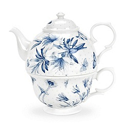 Portmeirion - White 'Botanic Blue' teapot and cup