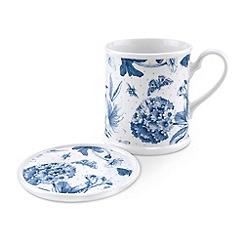 Portmeirion - White 'Botanic Blue' tankard mug gift set