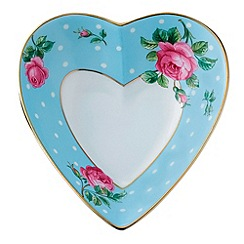 Royal Albert - Blue fine china heart shaped keepsake box