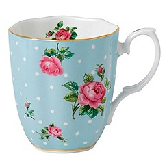 Royal Albert - Polka blue fine bone china blue spotted rose mug