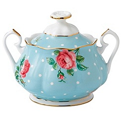 Royal Albert - Fine Bone China Blue spotted rose sugar jar