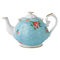 Royal Albert - Fine Bone China Blue spotted rose teapot