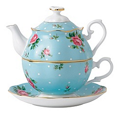 Royal Albert - Blue spotted 'Rose' teapot and cup