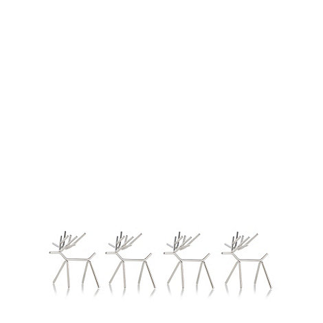 Salt & Pepper - Set of four metal reindeer place card holders