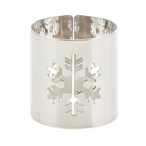 Salt & Pepper - Set of four silver snowflake napkin rings