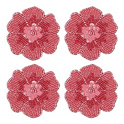 Debenhams - Set of four pink beaded flower coasters
