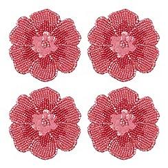 Debenhams - Set of four pink beaded flower coasters