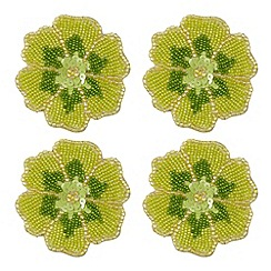 Debenhams - Set of four lime beaded flower coasters