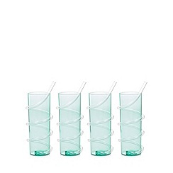 Debenhams - Set of four green curly straw plastic hi-ball cups