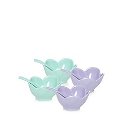 At home with Ashley Thomas - Set of four turquoise flower ice cream bowls and spoons
