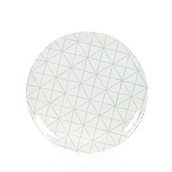 Debenhams - White plastic diamond checked round tray