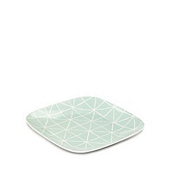 Debenhams - Set of four pale green diamond checked plates
