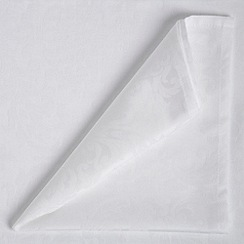 Debenhams - White  medium damask table cloth and set of 8 napkins