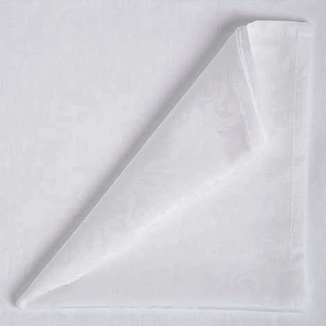Debenhams - White  medium damask table cloth and set of 8 napkins