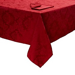 Debenhams - Red medium damask table cloth and set of 6 napkins