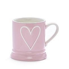 Debenhams - Pink stoneware embossed heart mug