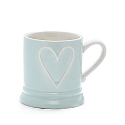 Debenhams - Pale green stoneware embossed heart mug
