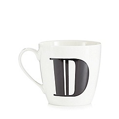 Debenhams - White 'D' alphabet mug