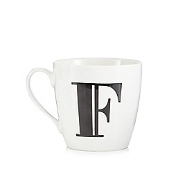 Debenhams - White 'F' alphabet mug