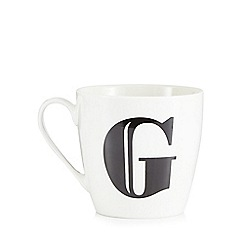 Debenhams - White 'G' alphabet mug