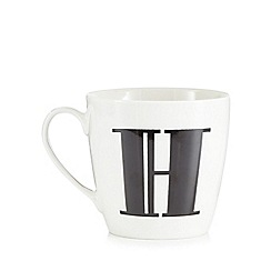 Debenhams - White 'H' alphabet mug