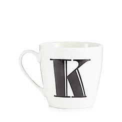 Debenhams - White 'K' alphabet mug
