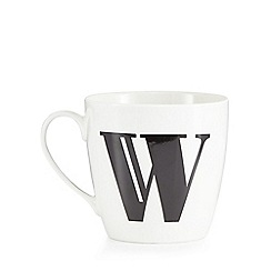 Debenhams - White 'W' alphabet mug