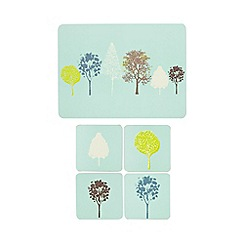 Ben de Lisi Home - Designer pale blue tree print coasters and placemats set