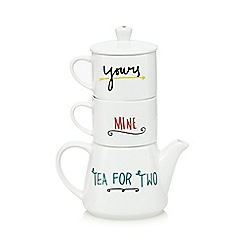 Ben de Lisi Home - Designer porcelain 'Mine' and 'Yours' tea for two