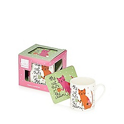 Ben de Lisi Home - Designer fine china cat mug and coaster set