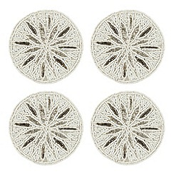Star by Julien MacDonald - Designer set of four silver beaded coasters