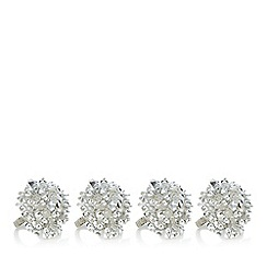 Star by Julien Macdonald - Pack of 4 silver beaded napkin rings