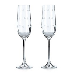 At home with Ashley Thomas - Set of two spotted glass flutes