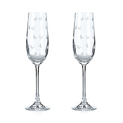 At home with Ashley Thomas - Set of two butterfly glass flutes