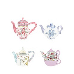 At home with Ashley Thomas - Set of four floral teapot coasters