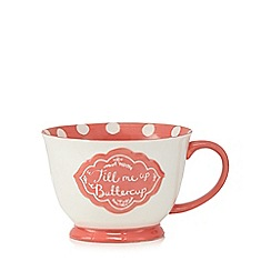 At home with Ashley Thomas - Coral 'Fill Me Up Buttercup' large polka dot mug