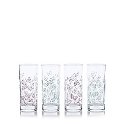 At home with Ashley Thomas - Set of four green and purple butterfly hi-ball glasses